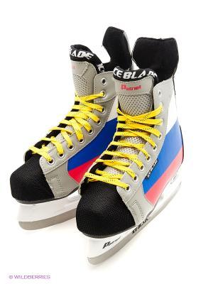 Коньки хоккейные ICE BLADE Patriot,. Цвет: серый, белый, красный, синий