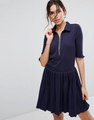 Unique 21 Платье-рубашка с плиссировкой и молнией Unique21. Цвет: темно-синий