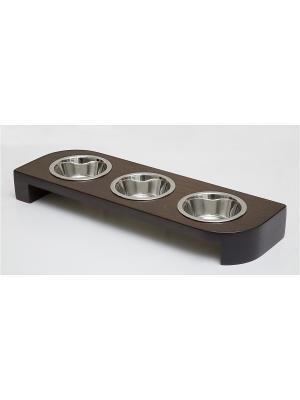 Подставка для кормления животных тройная 3*480мл Doggy Style. Цвет: темно-коричневый