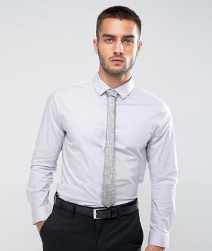 ASOS Лиловая рубашка скинни с серым галстуком цветочным принтом. Цвет: фиолетовый