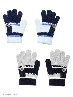Перчатки, 2 пары FOMAS. Цвет: синий, серый меланж