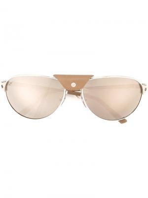 Солнцезащитные очки Santos Dumont Cartier. Цвет: металлический