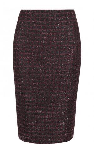 Буклированная юбка-миди с разрезом St. John. Цвет: фиолетовый