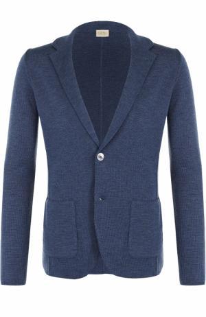 Однобортный шерстяной пиджак Sartoria Latorre. Цвет: синий