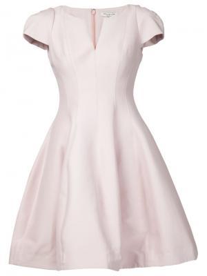 Расклешенное платье с короткими рукавами Halston Heritage. Цвет: розовый и фиолетовый