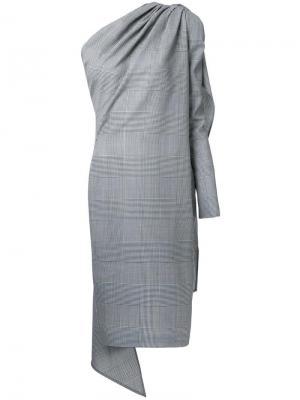 Асимметричное клетчатое платье Gareth Pugh. Цвет: серый
