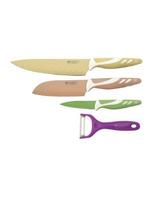 Набор ножей, 4 предмета BLAUMANN. Цвет: зеленый, светло-коричневый, фиолетовый