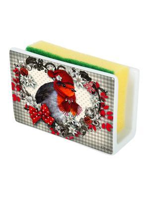 Маскировочный держатель для губки из керамики Изморозь Orval. Цвет: белый, черный, красный