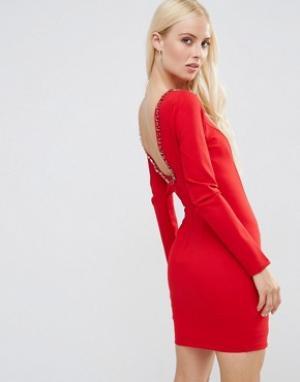 Forever Unique Платье мини с глубоким вырезом сзади и отделкой Gwyneth. Цвет: красный