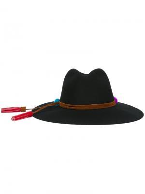 Шляпа с помпонами Sensi Studio. Цвет: чёрный
