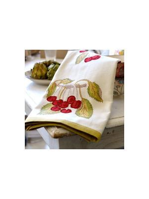 Полотенце Cherry red-green /Вишня красный-зеленый/ 50*80см, 100% хлопок Mas d'Ousvan. Цвет: зеленый, белый, красный