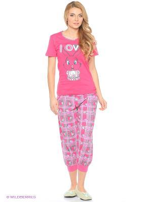 Женская пижама NICOLETTA. Цвет: розовый, белый