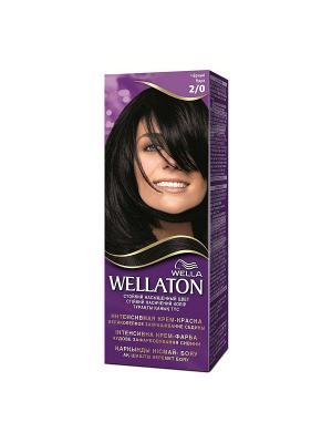Крем-краска для волос стойкая 2/0 Черный WELLATON. Цвет: фиолетовый