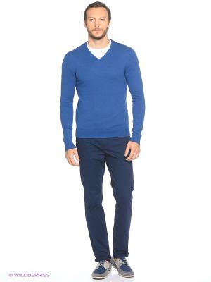Пуловер Oodji. Цвет: синий, белый