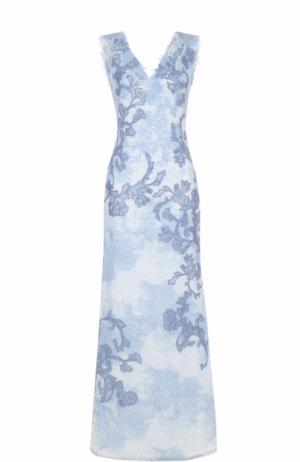 Кружевное платье-макси с V-образным вырезом Tadashi Shoji. Цвет: голубой