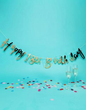 Ginger Ray Золотистая гирлянда Happy 18th Birthday. Цвет: золотой