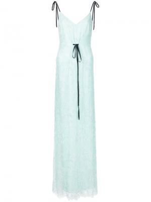 Длинное платье с кружевной отделкой N Duo. Цвет: зелёный