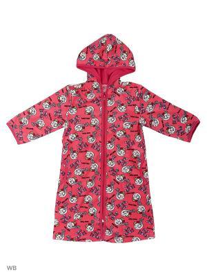 Велюровый халат для девочек SOFT SECRET. Цвет: розовый