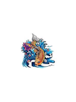 Временная переводная татуировка Рыба МнеТату. Цвет: голубой, сиреневый, фиолетовый, красный, желтый, черный, синий, зеленый, морская волна