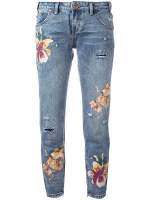 Укороченные джинсы с принтом орхидей One Teaspoon. Цвет: синий