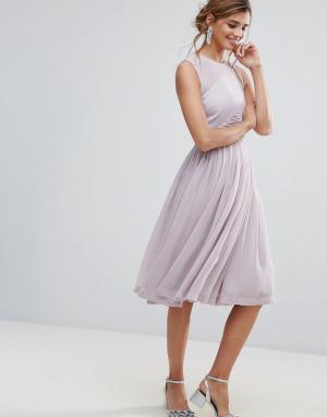 ASOS Платье миди с присборенной вставкой WEDDING. Цвет: фиолетовый