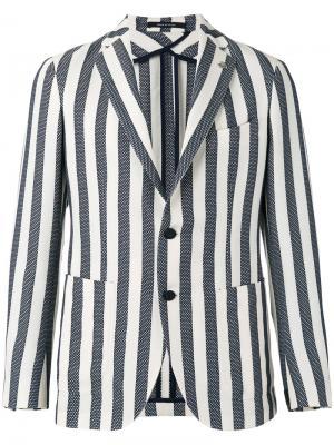 Полосатый пиджак Tagliatore. Цвет: синий