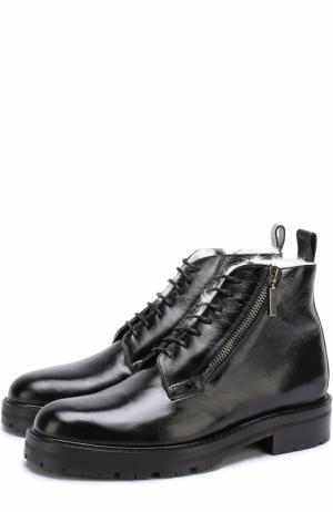 Кожаные ботинки на шнуровке с внутренней меховой отделкой Saint Laurent. Цвет: черный