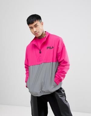 Fila Розовая куртка со светоотражающей вставкой Black. Цвет: розовый