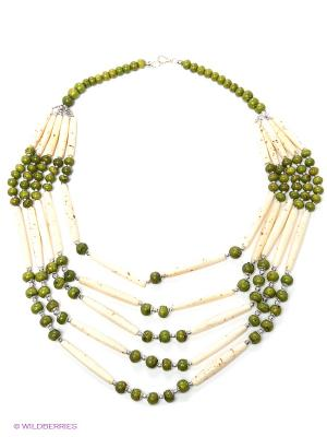 Ожерелье ГАНГ. Цвет: молочный, зеленый
