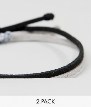 ASOS Набор плетеных браслетов (черный/серый). Цвет: черный