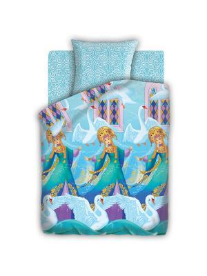 Комплект постельного белья 1,5 бязь Царевна Непоседа. Цвет: темно-фиолетовый, голубой