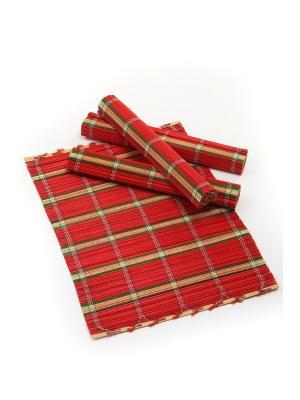 Салфетка из бамбука ,4 штук DAVANA. Цвет: зеленый, красный
