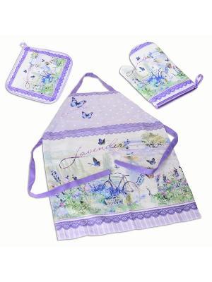 Лаванда набор 2: передник, прихватка и варежка Gift'n'Home. Цвет: белый, салатовый, сиреневый, фиолетовый