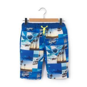 Шорты пляжные темно-синего цвета с рисунком, 8-14 лет NAME IT. Цвет: синий морской волны