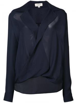 Блуза с перекрученной деталью Lagence L'agence. Цвет: синий