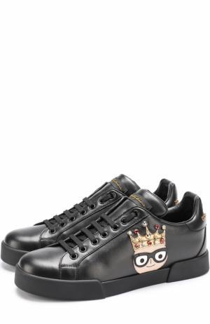 Кожаные кеды Portofino с аппликациями Dolce & Gabbana. Цвет: черный