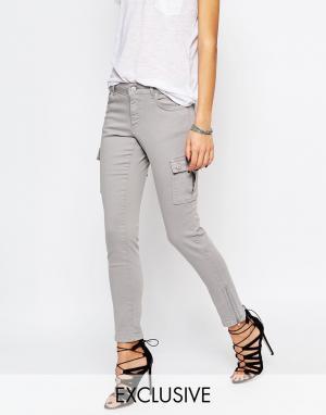 Northmore Denim Зауженные брюки карго с акцентными молниями на уровне щиколотки Northm. Цвет: серый