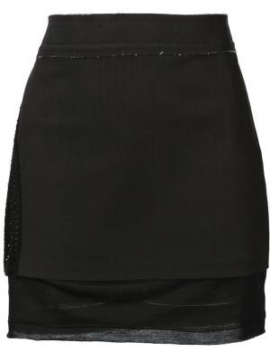 Мини-юбка с контрастными панелями Musée. Цвет: чёрный
