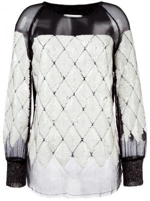 Блузка с прозрачной вставкой и пайетками Aviù. Цвет: белый