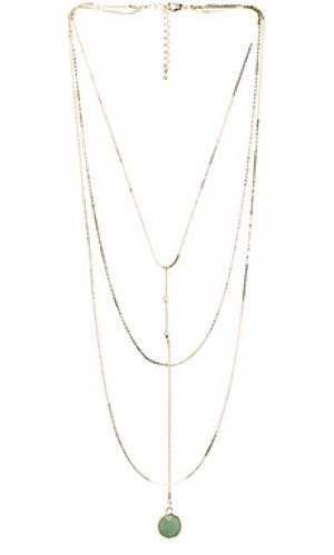 Ярусное ожерелье с нефритовым сердечком 8 Other Reasons. Цвет: металлический золотой