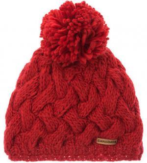Красная шапка с текстильным помпоном CANADIAN. Цвет: красный