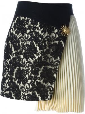 Асимметричная кружевная юбка Fausto Puglisi. Цвет: чёрный