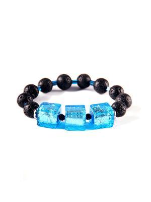 Браслет Flex Cubo, лава, голубой Bottega Murano. Цвет: черный, голубой