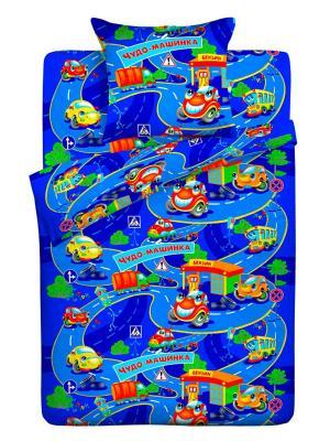 Комплект постельного белья детский Letto Чудо-машинка, нав-ка 50х70, 100% хлопок. Цвет: синий