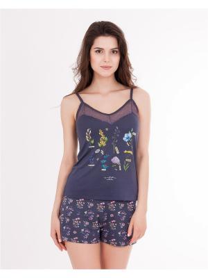 Пижама: топ, шорты Mark Formelle. Цвет: темно-фиолетовый, темно-серый