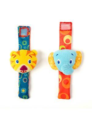 Игрушки-погремушки на ручку Стильная пара браслетиков BRIGHT STARTS. Цвет: синий, зеленый, желтый