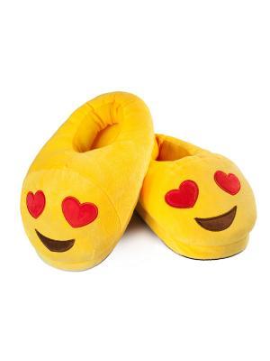 Тапки-смайлики Люблю закрытые SOXshop. Цвет: желтый