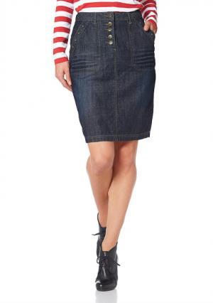 Джинсовая юбка CHEER. Цвет: темно-синий потертый