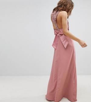 Maya Платье макси без рукавов с пайетками на топе, вырезом спине и банто. Цвет: розовый
