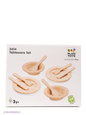 Набор столовой посуды PLAN TOYS. Цвет: бежевый